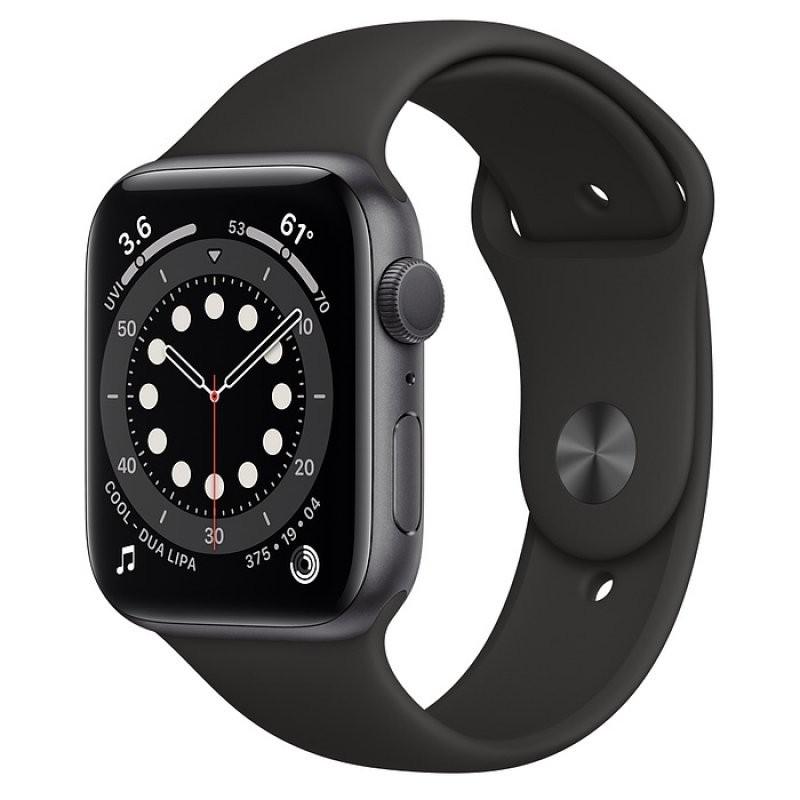 Apple Watch Series 6 GPS 44mm Aluminio en Gris Espacial con Correa Deportiva Negra