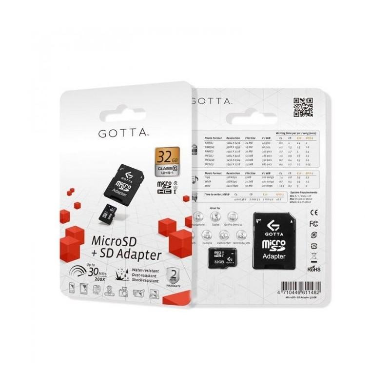 MEMORIA GOTTA MICRO SD 32GB CLASE 10 + SD ADAPTER
