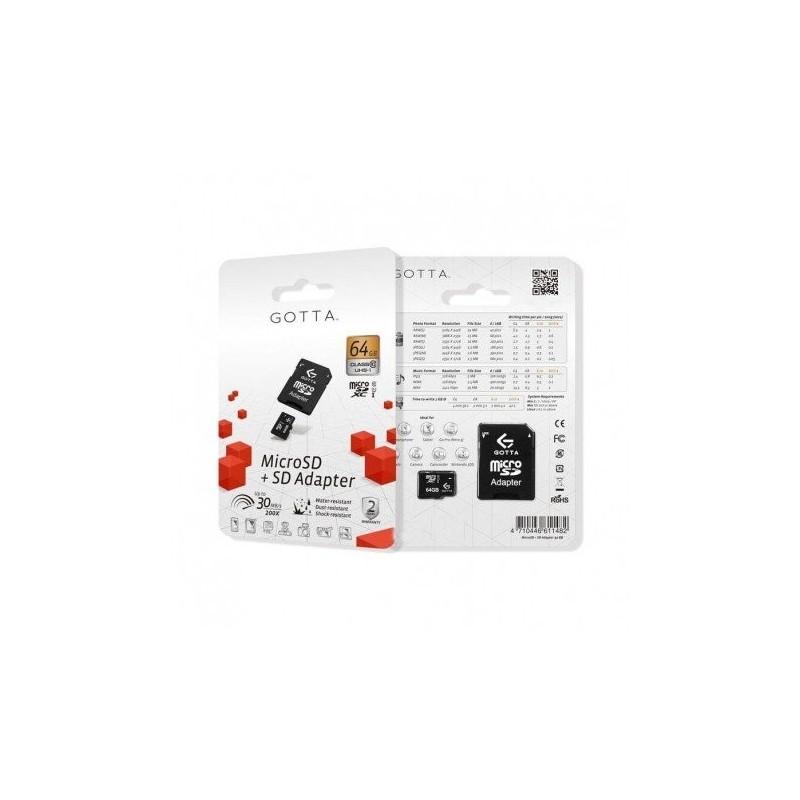 MEMORIA GOTTA MICRO SD 64GB CLASE 10 + SD ADAPTER
